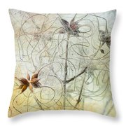 Clematis Virginiana Seed Head Textures Throw Pillow