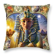 Cleo Tut Neffi Triptych Throw Pillow by Andrew Farley
