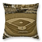 Cleveland Baseball In Sepia Throw Pillow