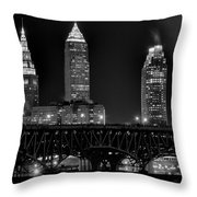 Cleveland Black And White Night Throw Pillow