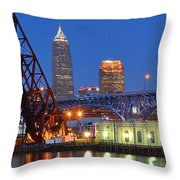 Cleveland Blue Hour Panoramic Throw Pillow