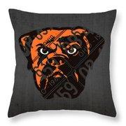 Cleveland Browns Football Team Retro Logo Ohio License Plate Art Throw Pillow