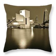 Cleveland In Sepia Throw Pillow