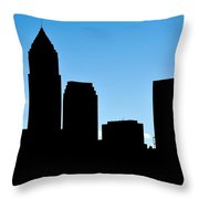 Cleveland In Silhouette Throw Pillow by Frozen in Time Fine Art Photography