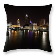 Cleveland Lakefront Nightscape Throw Pillow