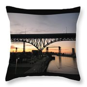 Cleveland Ohio Flats At Sunset Throw Pillow
