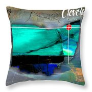 Cleveland Ohio Map Watercolor Throw Pillow