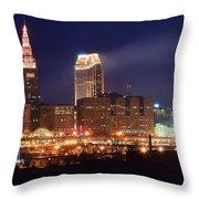 Cleveland Panoramic Night Throw Pillow