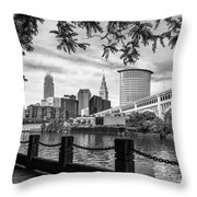 Cleveland River Cityscape Throw Pillow
