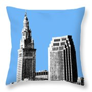Cleveland Skyline 1 - Light Blue Throw Pillow by DB Artist