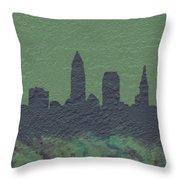 Cleveland Skyline Brick Wall Mural Throw Pillow