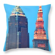 Clevelands Iconic Towers Throw Pillow