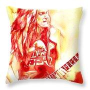 Cliff Burton Playing Bass Guitar Portrait.1 Throw Pillow