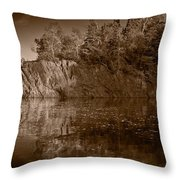 Cliff Face Northshore Mn Bw Throw Pillow
