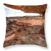 Cliff Overhang In Southwest Sandstone Canyon - Utah Throw Pillow by Gary Whitton