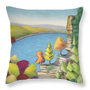 Cliff Overlooking Lake With Colorful Trees Throw Pillow