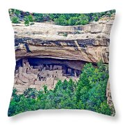 Cliff Palace From Chapin Mesa Top Loop Road In Mesa Verde National Park-colorado  Throw Pillow