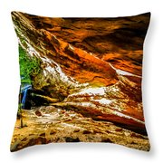 Cliff Rocks And Waterfall Throw Pillow