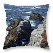 Cliffs And Coastline At California's Point Lobos State Natural Reserve Throw Pillow by Bruce Gourley