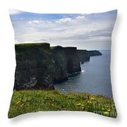 Cliffs Of Moher Looking South Throw Pillow