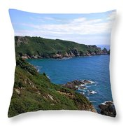 Cliffs On Isle Of Guernsey Throw Pillow