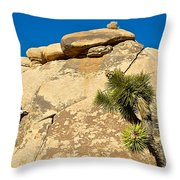 Climber At Quail Springs In Joshua Tree Np-ca Throw Pillow