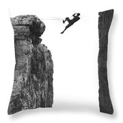 Climber Crossing On A Rope Throw Pillow by Underwood Archives