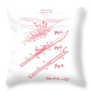 Climber For Skis 1939 Russell Patent Art Red On White Throw Pillow