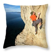 Climber Reaches For Hand Hold Throw Pillow