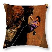 Climber, Red Rocks, Nv Throw Pillow