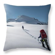 Climbers Nearing The Summit Throw Pillow