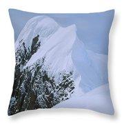 Climbers On Summit Ridge Of Mt Scott Throw Pillow