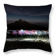 Climbers Trace Ghostly Shapes Throw Pillow