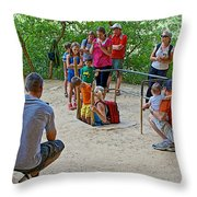 Climbing Down The Ladder Into A Kiva At Spruce Tree House In Mesa Verde National Park-colorado Throw Pillow