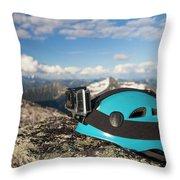 Climbing Helmet With Camera On Mountain Throw Pillow