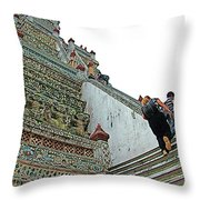 Climbing Many Steps At Temple Of The Dawn-wat Arun In Bangkok-th Throw Pillow