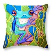 Climbing Tree Frog Throw Pillow