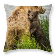 Clinging To Mom Throw Pillow