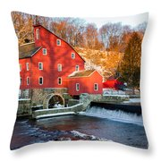 Clinton Mill In Winter Throw Pillow
