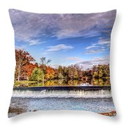 Clinton Nj Historic Red Mill Pano Throw Pillow