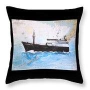 Clipper Epic Longline Fishing Boat Nautical Chart Map Art Throw Pillow