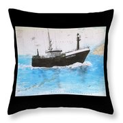 Clipper Express Longline Fishing Boat Nautical Chart Map Art Throw Pillow