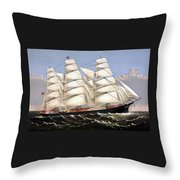 Clipper Ship Three Brothers Throw Pillow