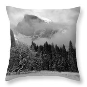 Cloaked In A Snow Storm - Monochrome Throw Pillow