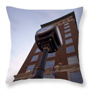 Clock Against The Tower Throw Pillow