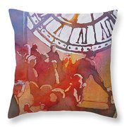 Clock Cafe Throw Pillow