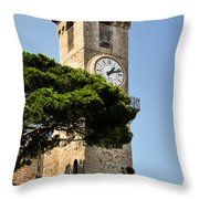 Clock Tower - Cannes - France Throw Pillow