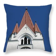 Clock Tower. Evangelic Lutheran Church. Silute. Lithuania. Throw Pillow