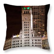Clock Tower In Chicago  Throw Pillow