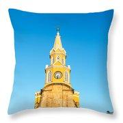 Clock Tower Of Cartagena Throw Pillow